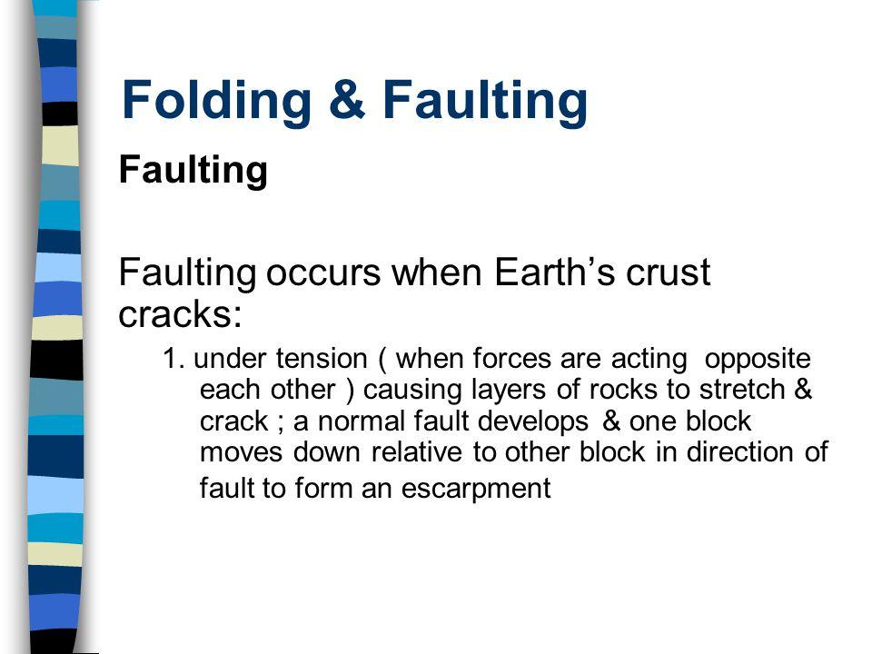 Folding & Faulting Faulting Faulting occurs when Earth's crust cracks: 1.