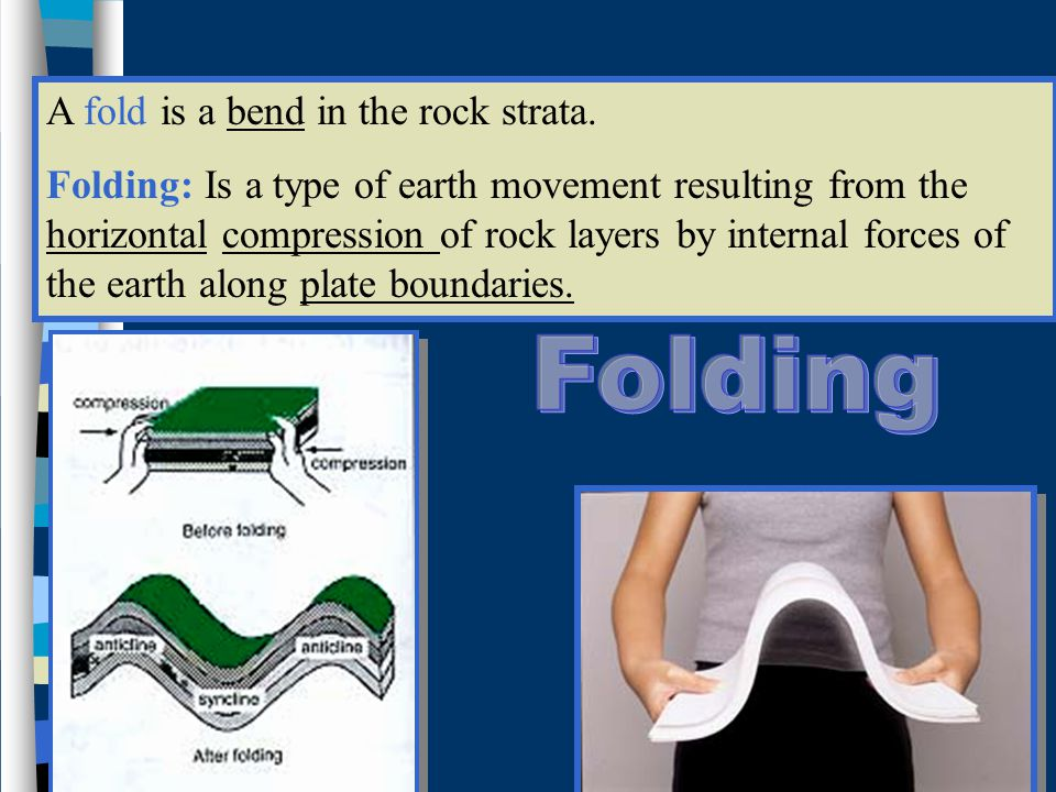 A fold is a bend in the rock strata.