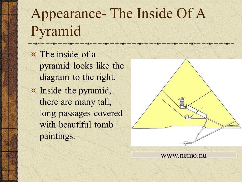 Appearance- The Bent Pyramid The bent pyramid is very smooth and has curved sides.