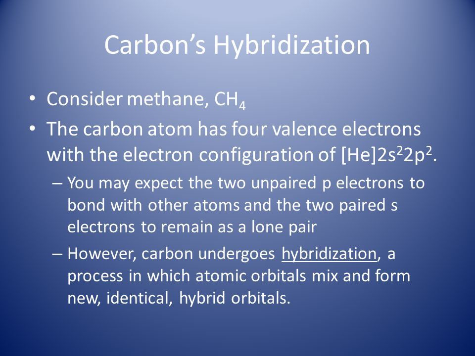 Carbon's Hybridization Consider methane, CH 4 The carbon atom has four valence electrons with the electron configuration of [He]2s 2 2p 2. – You may e