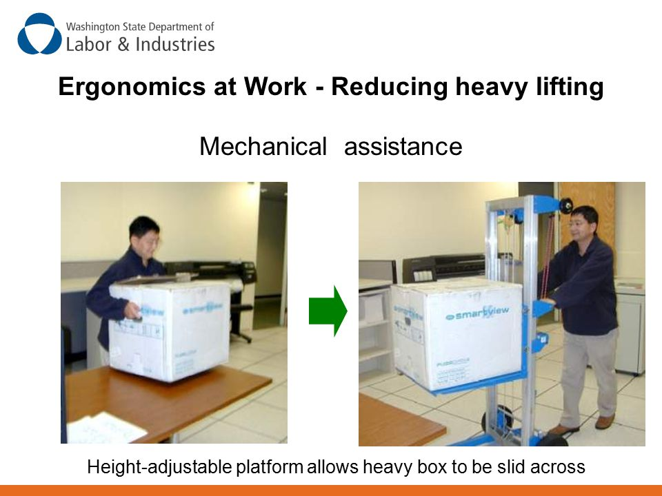 Ergonomics at Work - Reducing heavy lifting Mechanical assistance Height-adjustable platform allows heavy box to be slid across