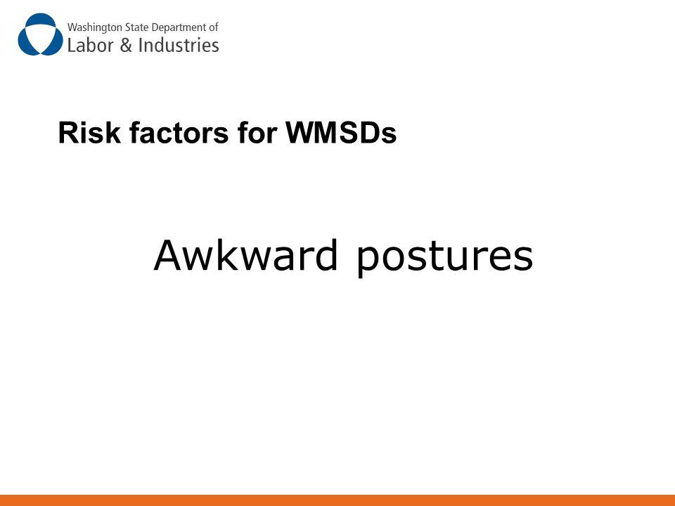 Risk factors for WMSDs Awkward postures
