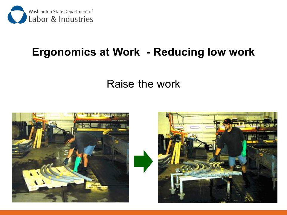 Ergonomics at Work - Reducing low work Raise the work