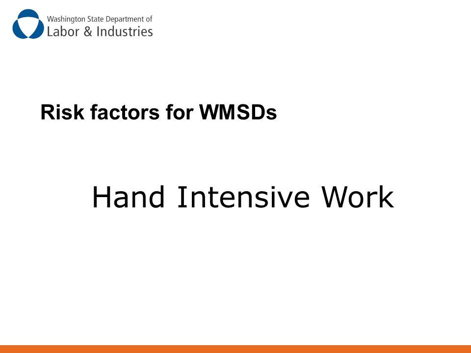 Risk factors for WMSDs Hand Intensive Work