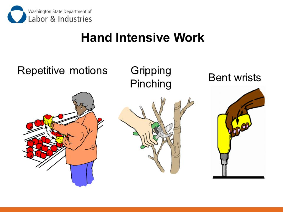Repetitive motionsGripping Pinching Bent wrists Hand Intensive Work