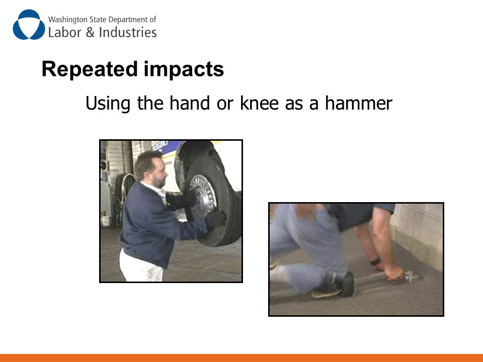 Using the hand or knee as a hammer