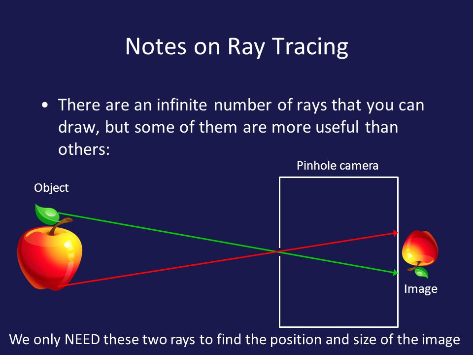 Notes on Ray Tracing There are an infinite number of rays that you can draw, but some of them are more useful than others: Pinhole camera Image Object We only NEED these two rays to find the position and size of the image