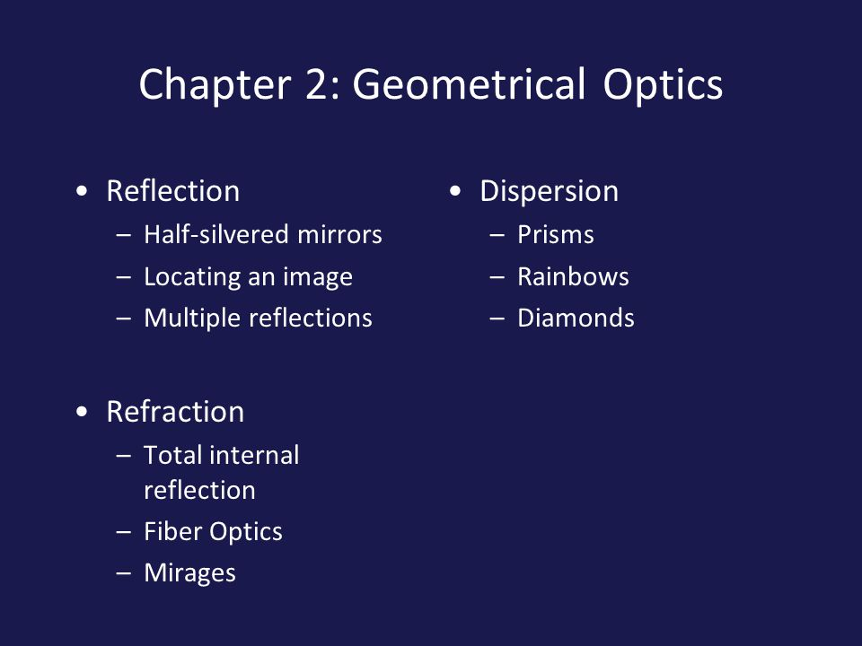 Chapter 2: Geometrical Optics Reflection –Half-silvered mirrors –Locating an image –Multiple reflections Refraction –Total internal reflection –Fiber Optics –Mirages Dispersion –Prisms –Rainbows –Diamonds