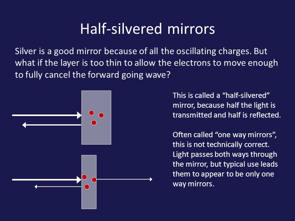Half-silvered mirrors Silver is a good mirror because of all the oscillating charges.