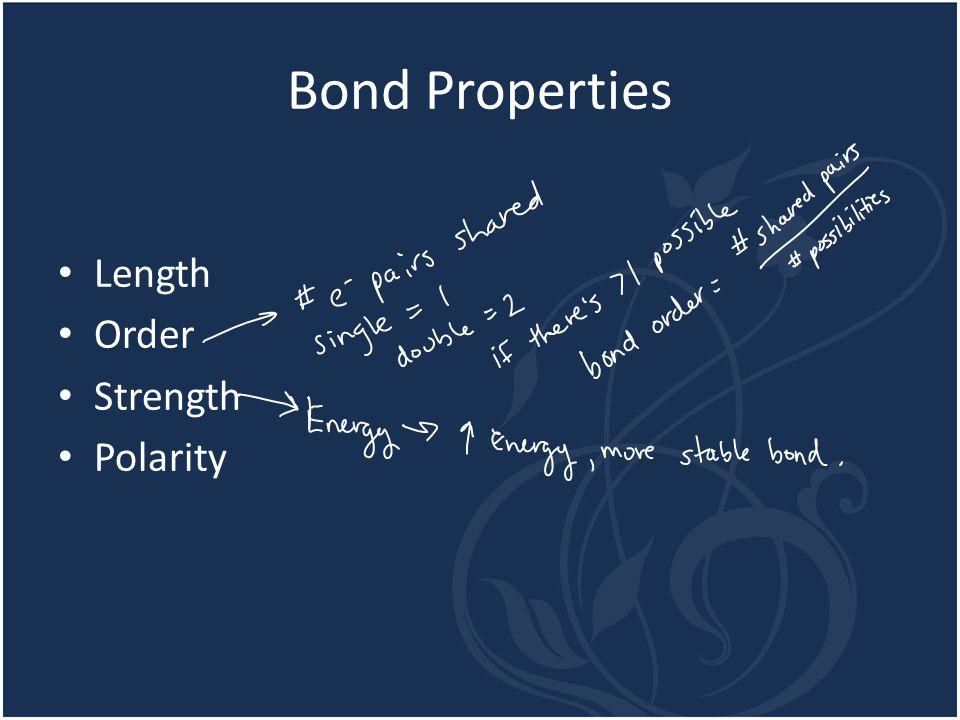 Bond Properties Length Order Strength Polarity