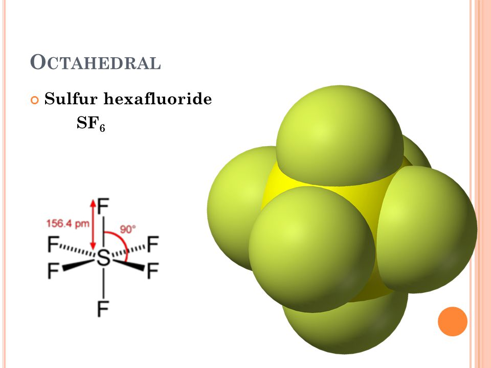 O CTAHEDRAL Sulfur hexafluoride SF 6