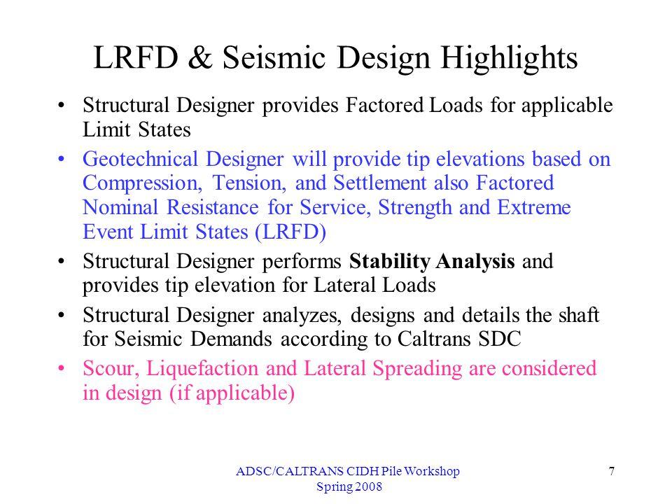 ADSC/CALTRANS CIDH Pile Workshop Spring 2008 28 Summary (Method-I)