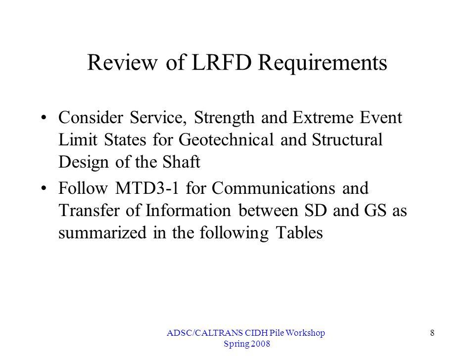 ADSC/CALTRANS CIDH Pile Workshop Spring 2008 29