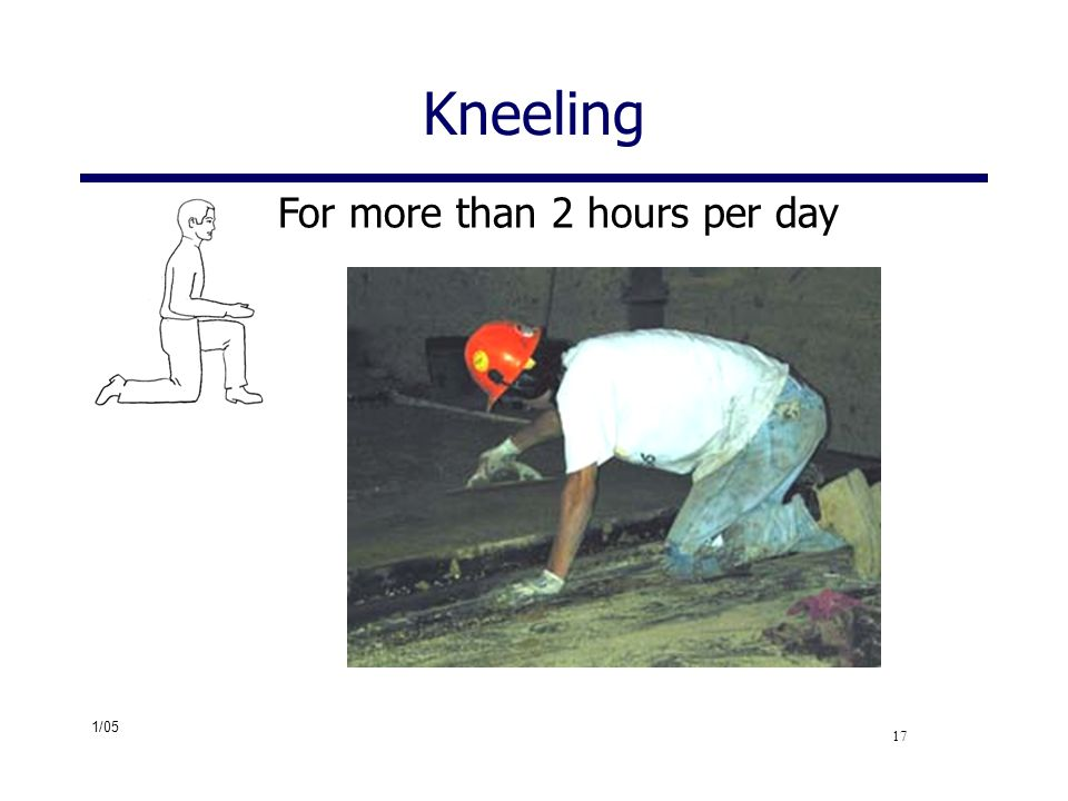 1/05 17 Kneeling For more than 2 hours per day