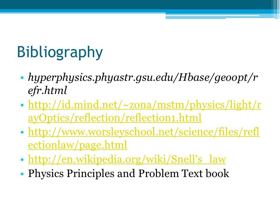 Bibliography hyperphysics.phyastr.gsu.edu/Hbase/geoopt/r efr.html http://id.mind.net/~zona/mstm/physics/light/r ayOptics/reflection/reflection1.htmlhttp://id.mind.net/~zona/mstm/physics/light/r ayOptics/reflection/reflection1.html http://www.worsleyschool.net/science/files/refl ectionlaw/page.htmlhttp://www.worsleyschool.net/science/files/refl ectionlaw/page.html http://en.wikipedia.org/wiki/Snell s_law Physics Principles and Problem Text book