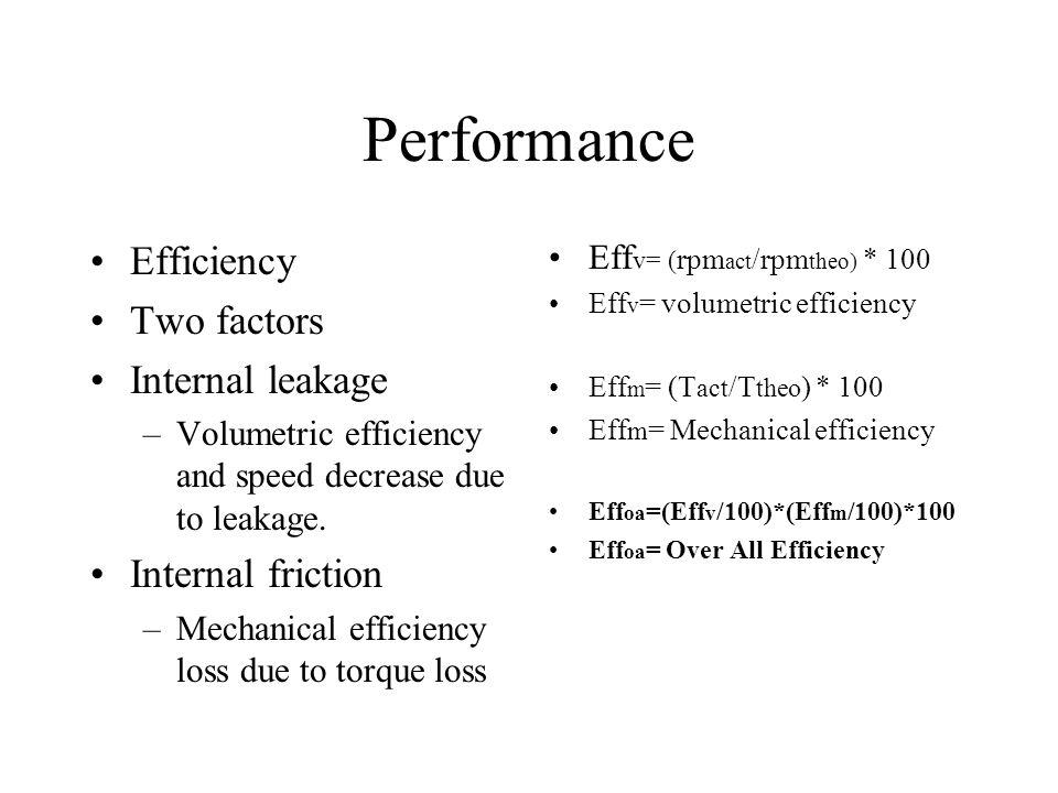 Performance Efficiency Two factors Internal leakage –Volumetric efficiency and speed decrease due to leakage. Internal friction –Mechanical efficiency