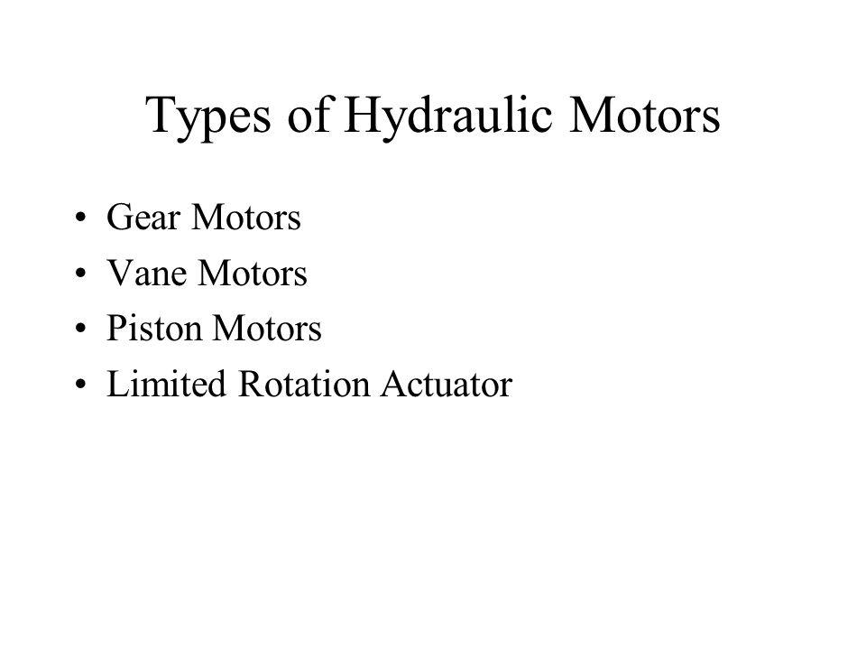 Types of Hydraulic Motors Gear Motors Vane Motors Piston Motors Limited Rotation Actuator
