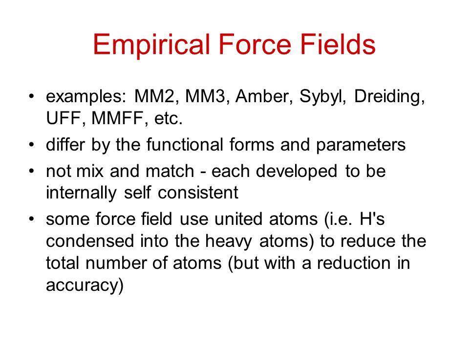Empirical Force Fields examples: MM2, MM3, Amber, Sybyl, Dreiding, UFF, MMFF, etc.