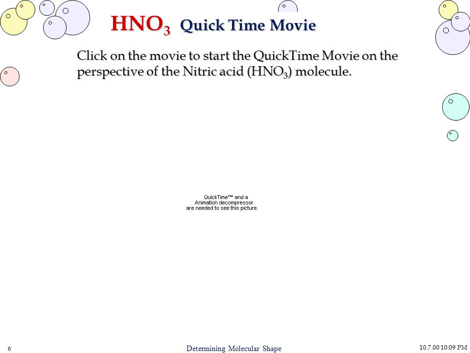 10.7.00 10:09 PM 6 Determining Molecular Shape HNO 3 Quick Time Movie Click on the movie to start the QuickTime Movie on the perspective of the Nitric