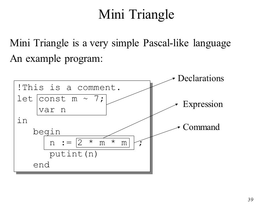 39 Mini Triangle Mini Triangle is a very simple Pascal-like language An example program: !This is a comment. let const m ~ 7; var n in begin n := 2 *