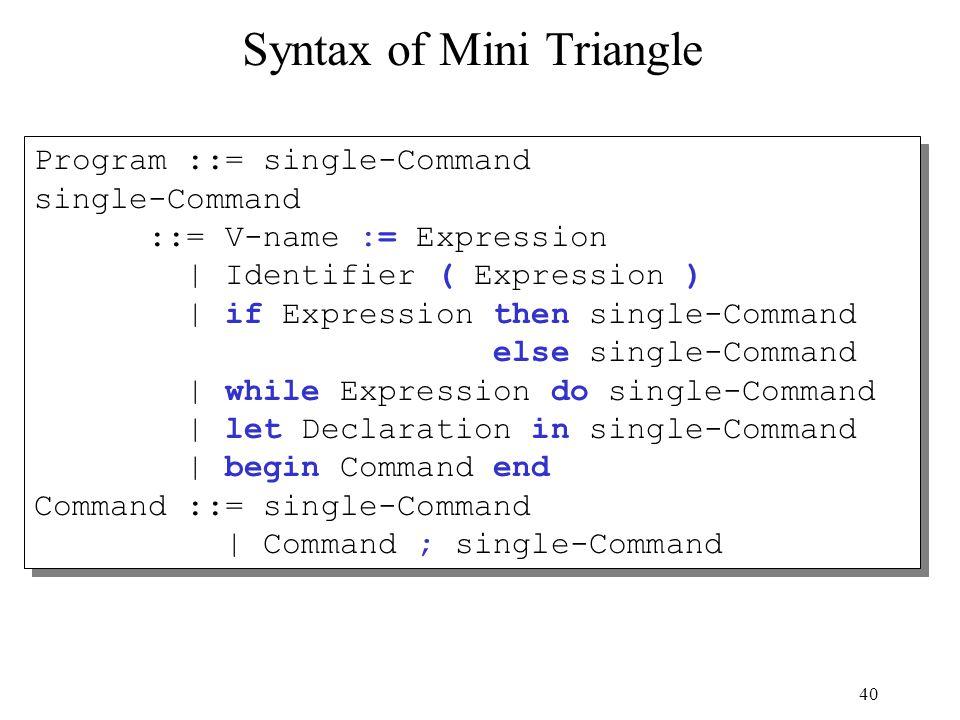 40 Syntax of Mini Triangle Program ::= single-Command single-Command ::= V-name := Expression | Identifier ( Expression ) | if Expression then single-
