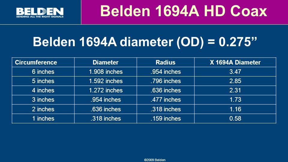 ©2009 Belden Belden 1694A HD Coax CircumferenceDiameterRadiusX 1694A Diameter 6 inches1.908 inches.954 inches3.47 5 inches1.592 inches.796 inches2.85 4 inches1.272 inches.636 inches2.31 3 inches.954 inches.477 inches1.73 2 inches.636 inches.318 inches1.16 1 inches.318 inches.159 inches0.58 Belden 1694A diameter (OD) = 0.275