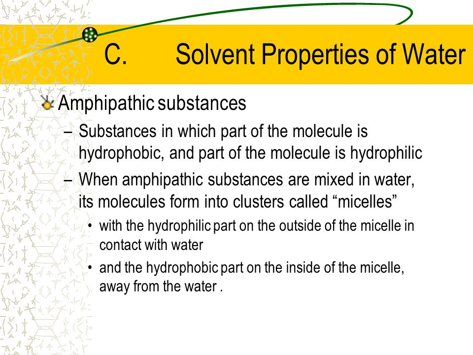 Hydrophobic substances –Substances that cannot be dissolved in water –Water molecules have difficulty interacting with uncharged molecules.