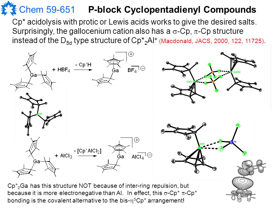 Chem 59-651P-block Cyclopentadienyl Compounds Cp* acidolysis with protic or Lewis acids works to give the desired salts.