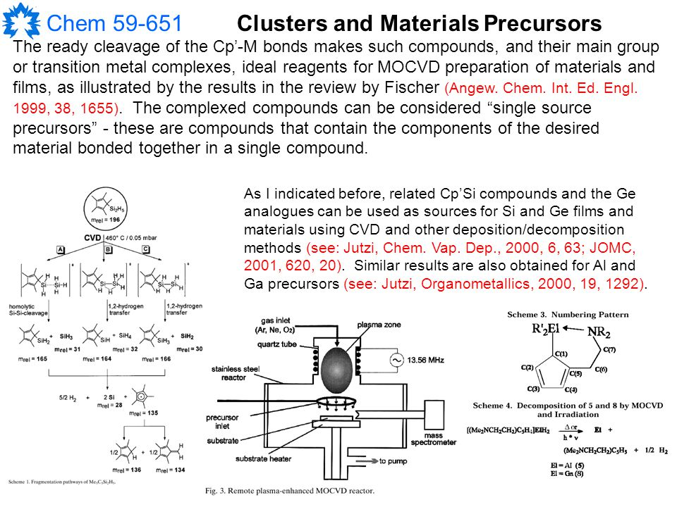 Chem 59-651 The ready cleavage of the Cp'-M bonds makes such compounds, and their main group or transition metal complexes, ideal reagents for MOCVD preparation of materials and films, as illustrated by the results in the review by Fischer (Angew.