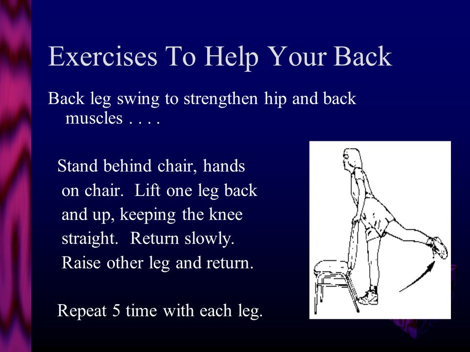 Exercises To Help Your Back Partial sit-up to strengthen stomach muscles...