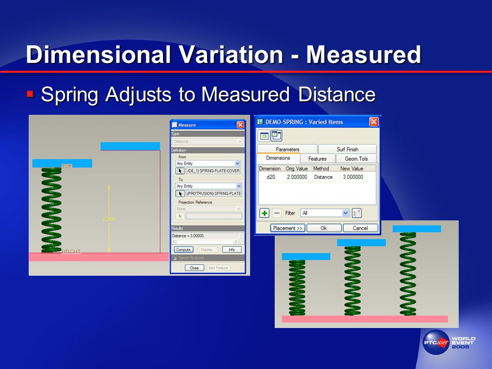 Dimensional Variation - Measured  Spring Adjusts to Measured Distance