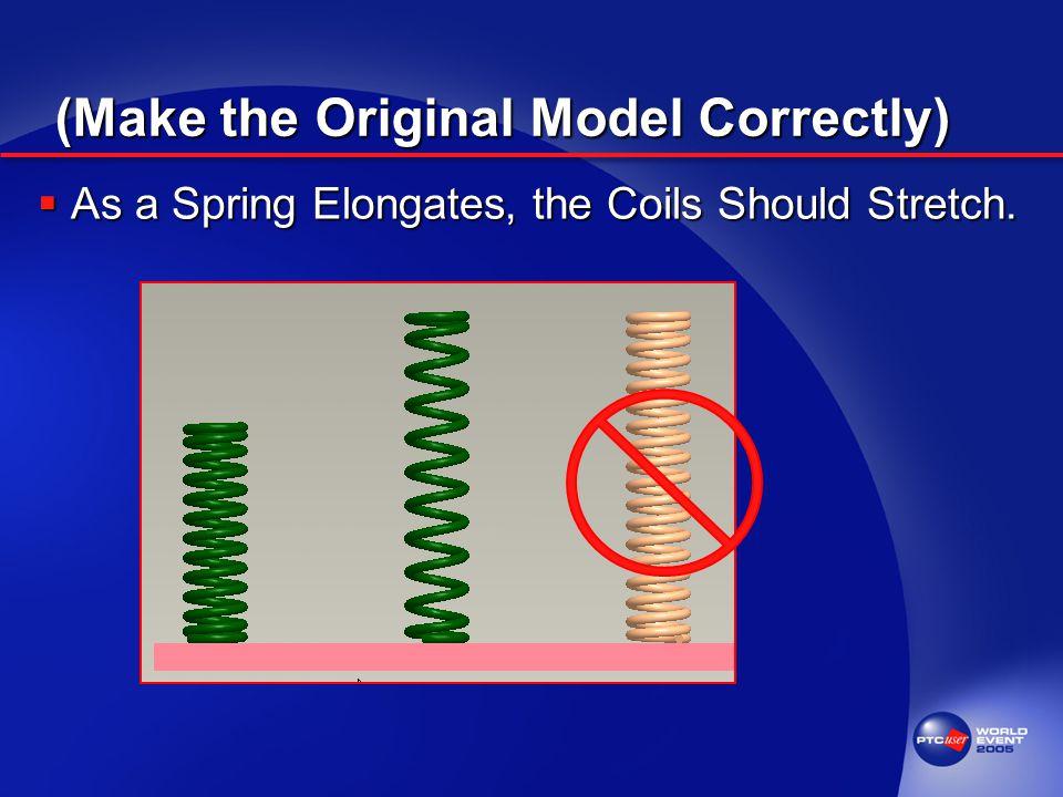 (Make the Original Model Correctly)  As a Spring Elongates, the Coils Should Stretch.