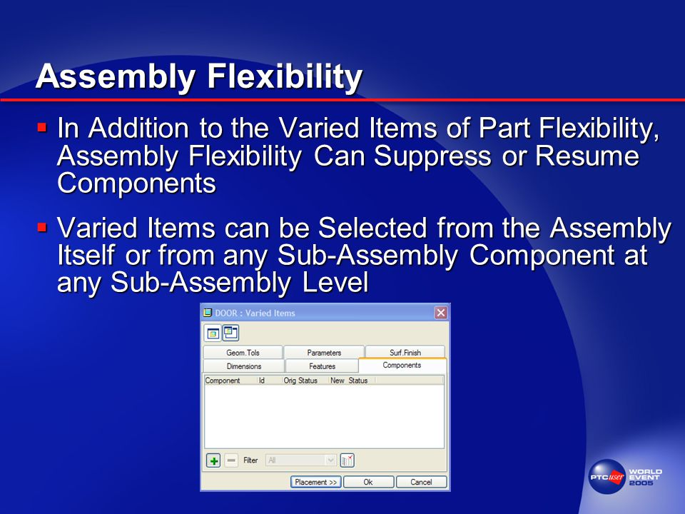 Assembly Flexibility  In Addition to the Varied Items of Part Flexibility, Assembly Flexibility Can Suppress or Resume Components  Varied Items can be Selected from the Assembly Itself or from any Sub-Assembly Component at any Sub-Assembly Level