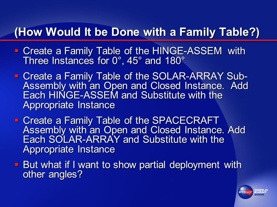 (How Would It be Done with a Family Table )  Create a Family Table of the HINGE-ASSEM with Three Instances for 0°, 45° and 180°  Create a Family Table of the SOLAR-ARRAY Sub- Assembly with an Open and Closed Instance.