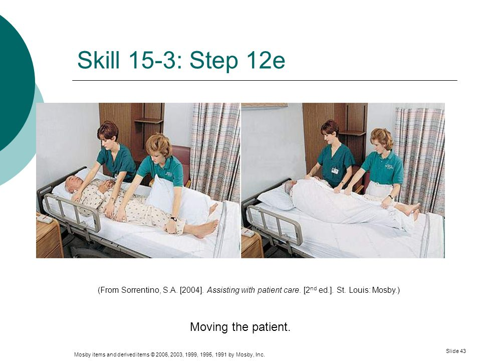 Mosby items and derived items © 2006, 2003, 1999, 1995, 1991 by Mosby, Inc. Slide 43 Skill 15-3: Step 12e Moving the patient. (From Sorrentino, S.A. [