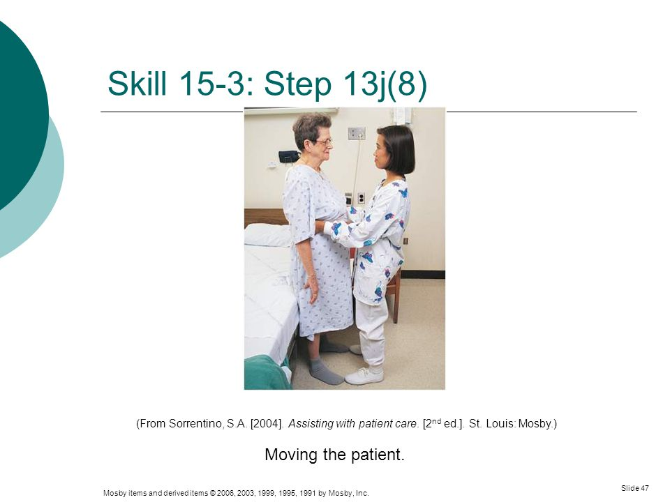 Mosby items and derived items © 2006, 2003, 1999, 1995, 1991 by Mosby, Inc. Slide 47 Skill 15-3: Step 13j(8) Moving the patient. (From Sorrentino, S.A