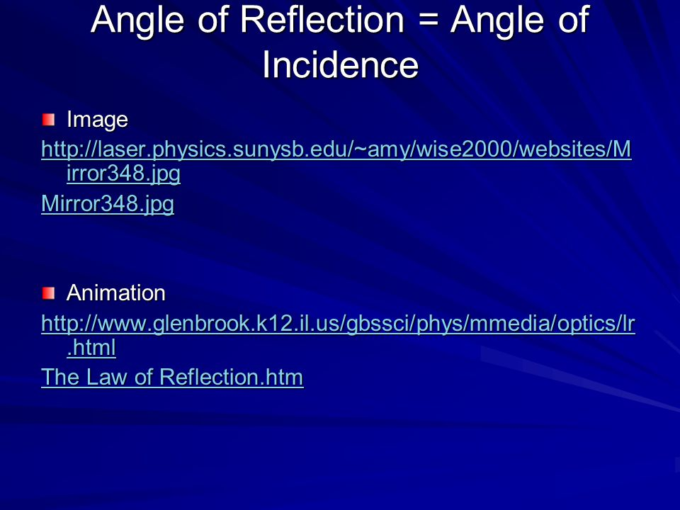 Angle of Reflection = Angle of Incidence Image http://laser.physics.sunysb.edu/~amy/wise2000/websites/M irror348.jpg http://laser.physics.sunysb.edu/~amy/wise2000/websites/M irror348.jpg Mirror348.jpg Animation http://www.glenbrook.k12.il.us/gbssci/phys/mmedia/optics/lr.html http://www.glenbrook.k12.il.us/gbssci/phys/mmedia/optics/lr.html The Law of Reflection.htm The Law of Reflection.htm