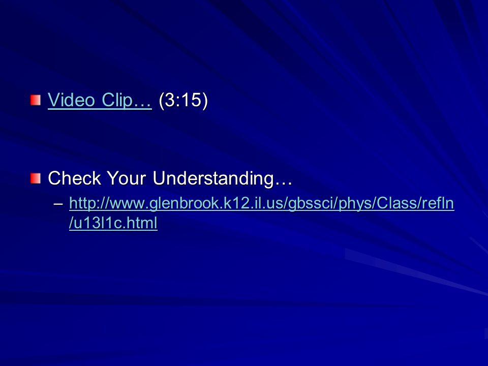 Video Clip…Video Clip… (3:15) Video Clip… Check Your Understanding… –http://www.glenbrook.k12.il.us/gbssci/phys/Class/refln /u13l1c.html http://www.glenbrook.k12.il.us/gbssci/phys/Class/refln /u13l1c.htmlhttp://www.glenbrook.k12.il.us/gbssci/phys/Class/refln /u13l1c.html