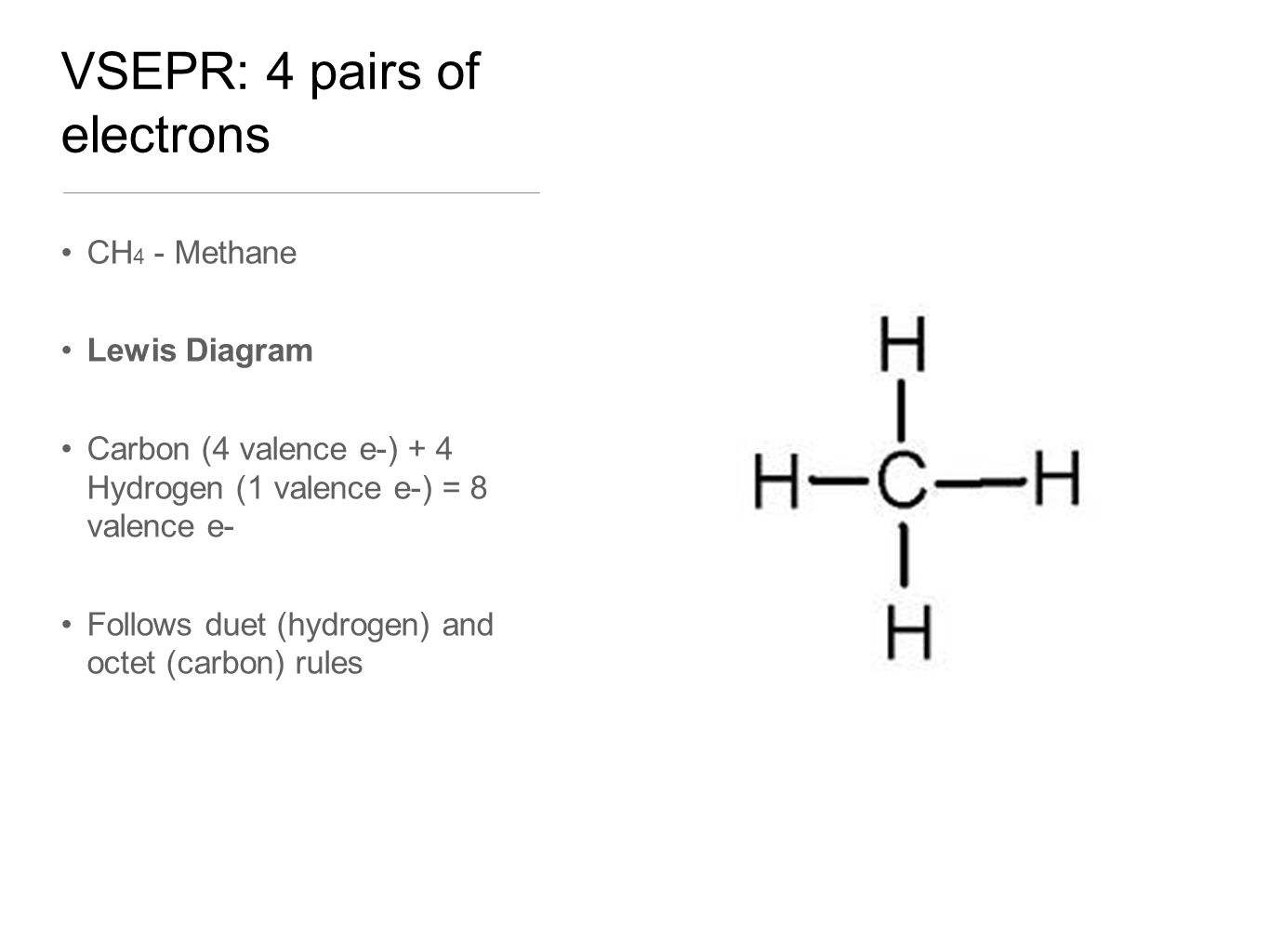 VSEPR: 4 pairs of electrons CH 4 - Methane Lewis Diagram Carbon (4 valence e-) + 4 Hydrogen (1 valence e-) = 8 valence e- Follows duet (hydrogen) and octet (carbon) rules