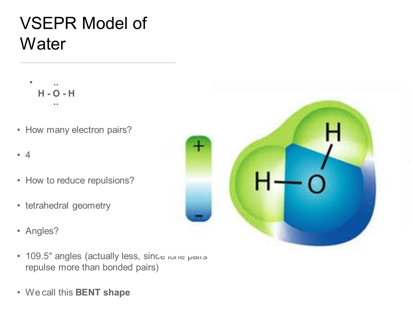 VSEPR Model of Water.. H - O - H ·· How many electron pairs.