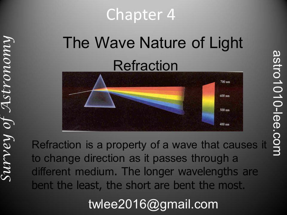The Wave Nature of Light Diffraction Diffraction allows the waves to interact with each other, sometimes cancelling and sometime reinforcing.