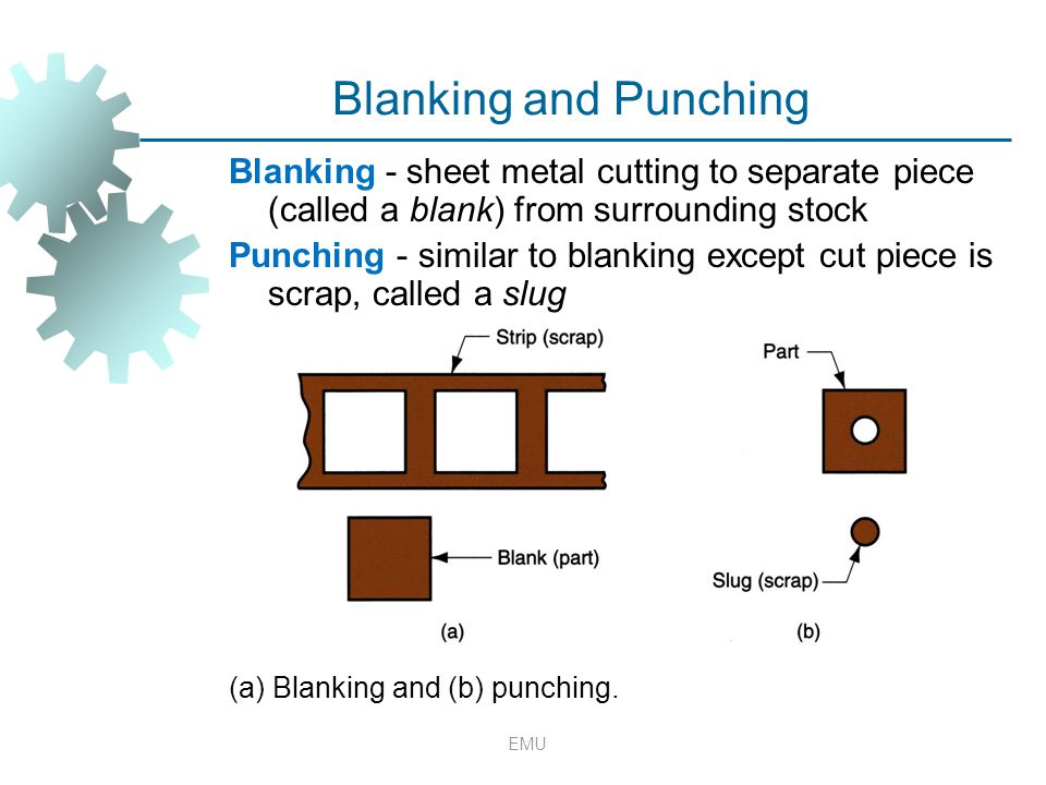Blanking and Punching Blanking - sheet metal cutting to separate piece (called a blank) from surrounding stock Punching - similar to blanking except c