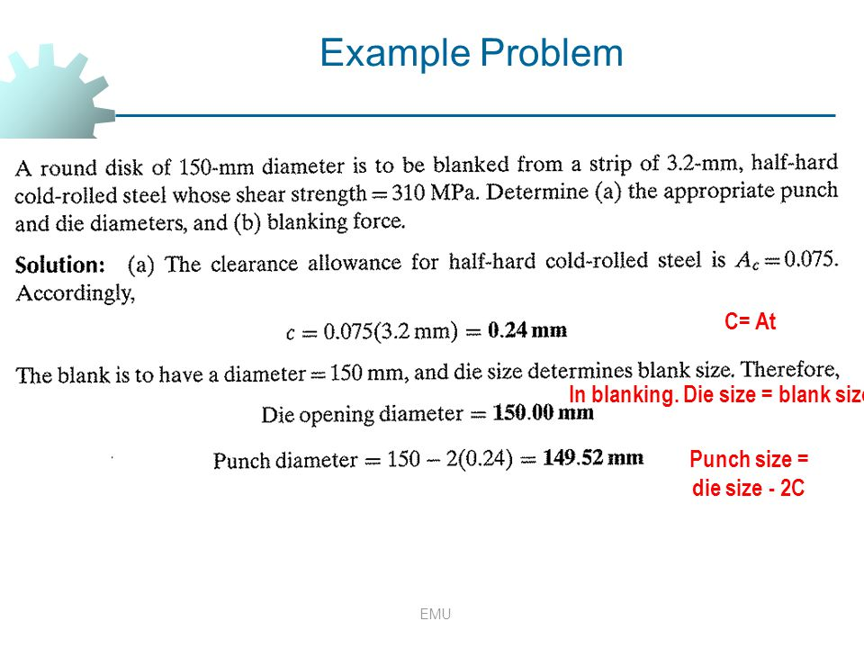 EMU Example Problem C= At In blanking. Die size = blank size Punch size = die size - 2C