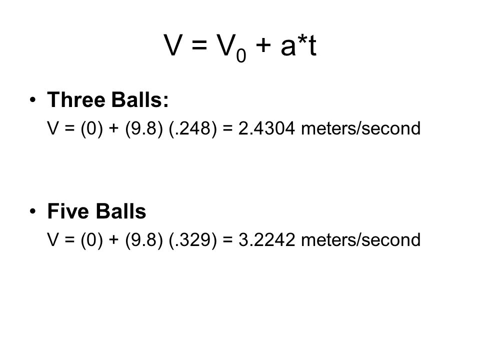 V = V 0 + a*t Three Balls: V = (0) + (9.8) (.248) = 2.4304 meters/second Five Balls V = (0) + (9.8) (.329) = 3.2242 meters/second