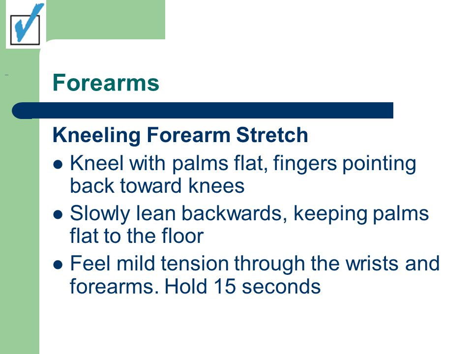 Forearms Kneeling Forearm Stretch Kneel with palms flat, fingers pointing back toward knees Slowly lean backwards, keeping palms flat to the floor Fee