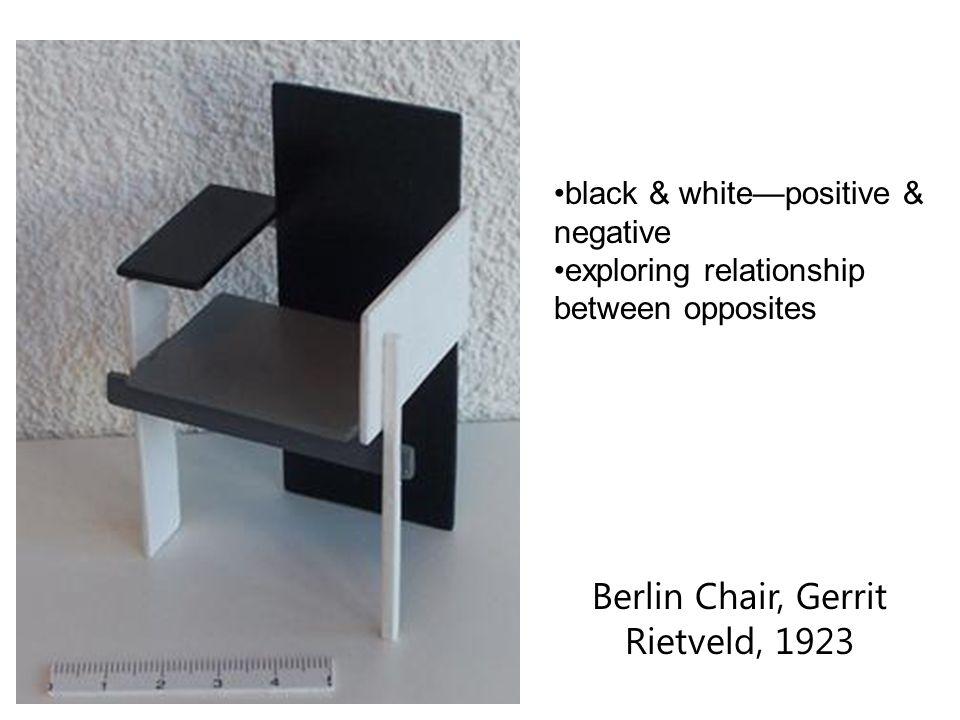 Berlin Chair, Gerrit Rietveld, 1923 black & white—positive & negative exploring relationship between opposites