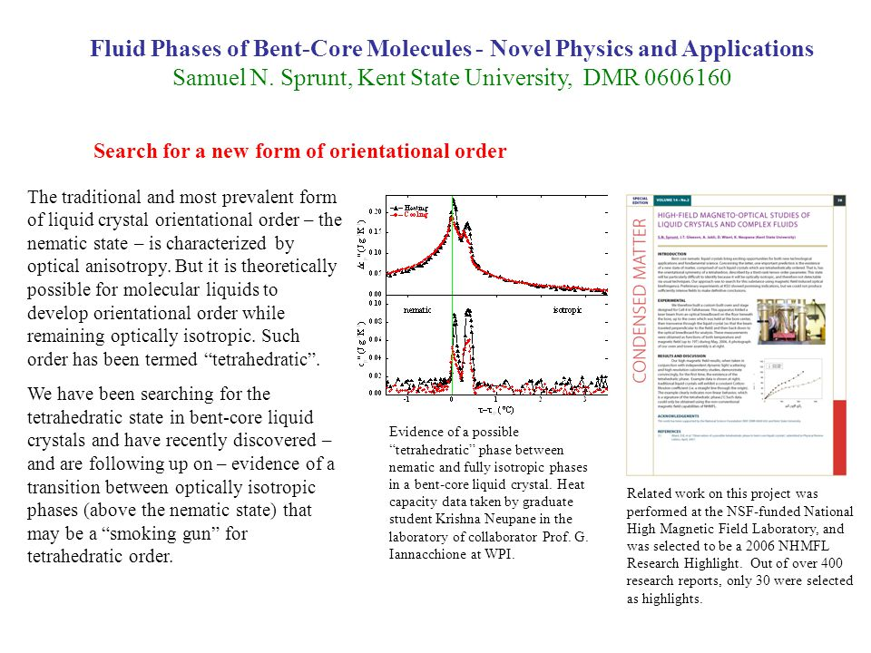 Fluid Phases of Bent-Core Molecules - Novel Physics and Applications Samuel N.