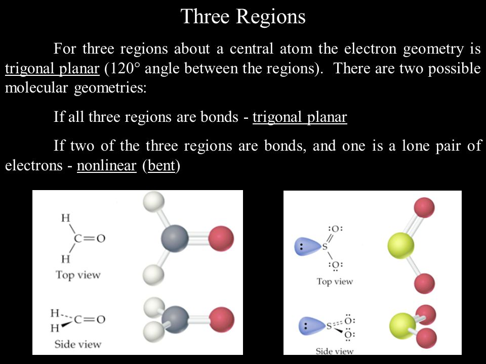 Three Regions For three regions about a central atom the electron geometry is trigonal planar (120  angle between the regions).
