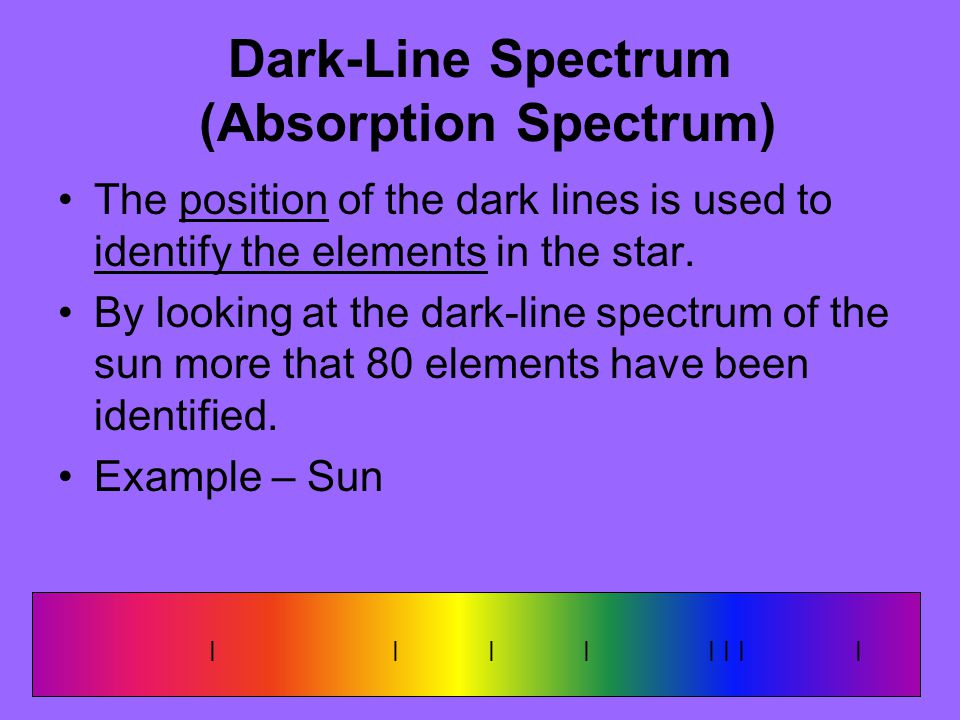 Dark-Line Spectrum (Absorption Spectrum) The position of the dark lines is used to identify the elements in the star. By looking at the dark-line spec