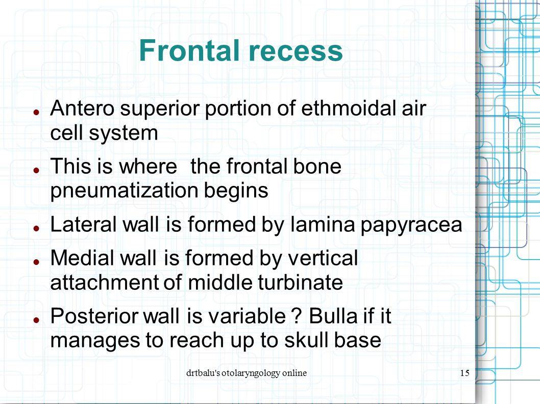 drtbalu's otolaryngology online15 Frontal recess Antero superior portion of ethmoidal air cell system This is where the frontal bone pneumatization be